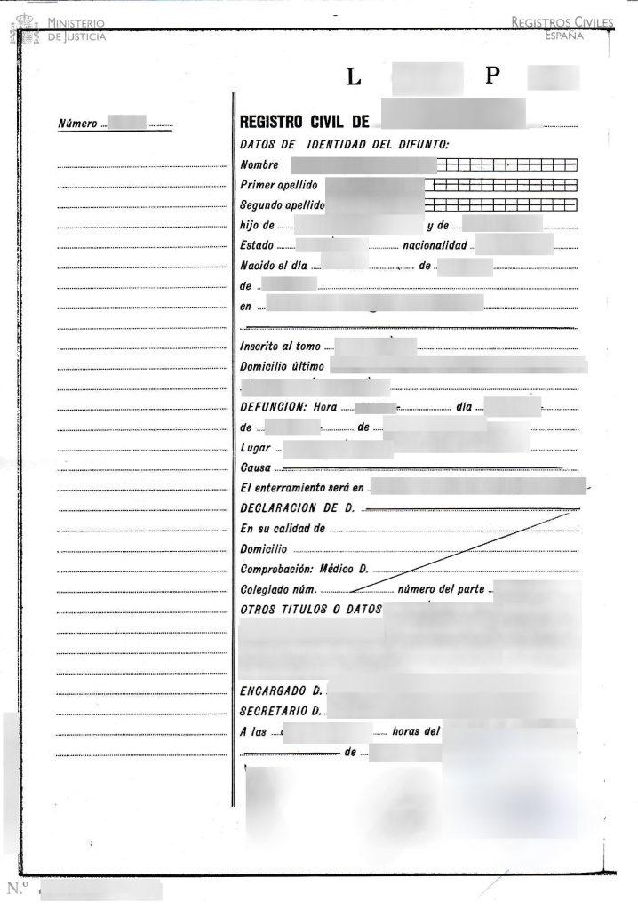 certificado de defuncion españa