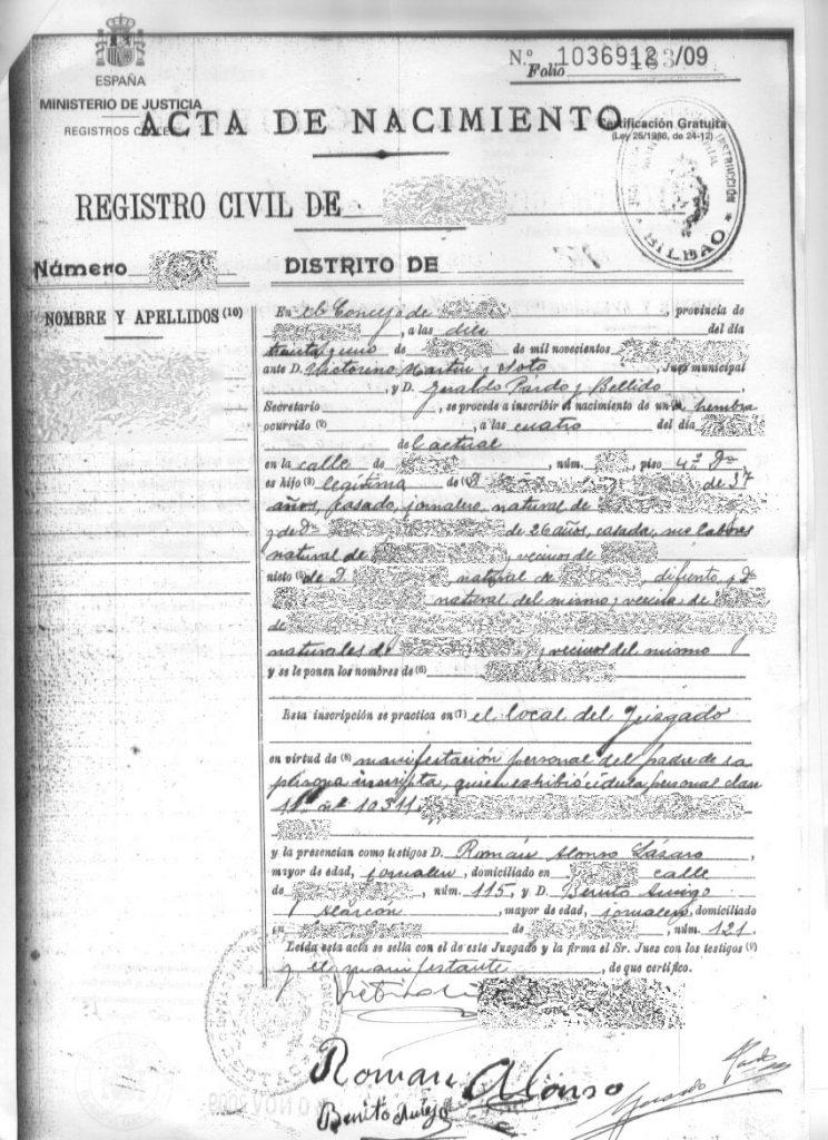 certificado de nacimiento literal